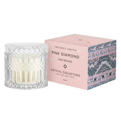 Mrs Darcy | crystal collection candle | pink diamond, pink peonies