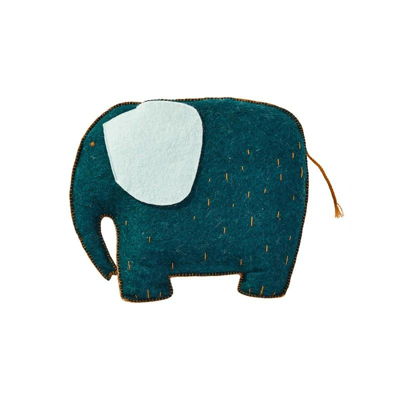 Muskhane - kids cushion elephant - duck blue