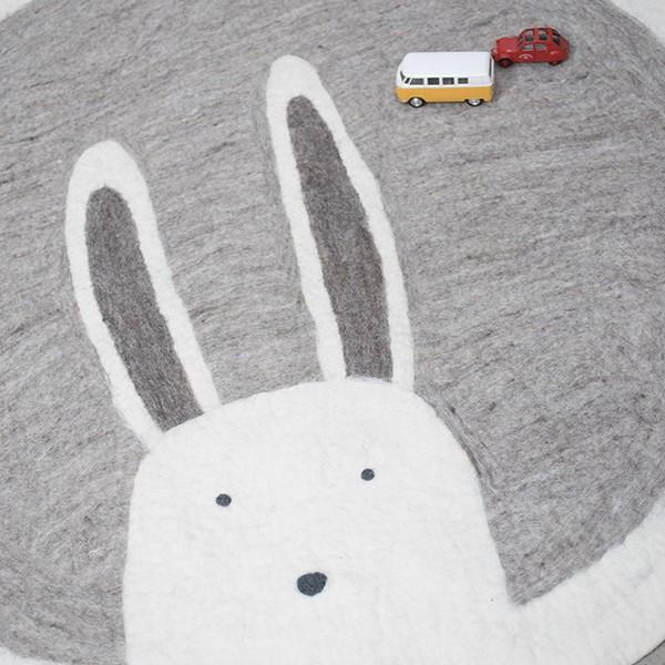 Muskhane pasu round kids rug bunny - light stone - play