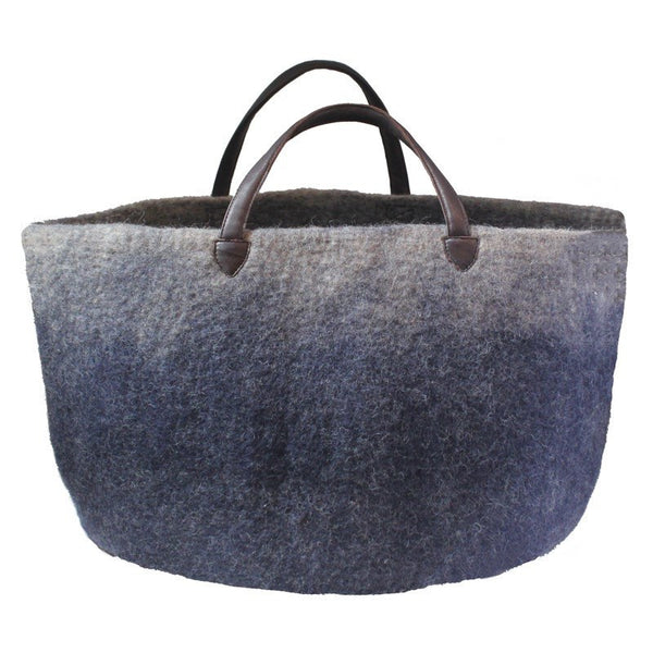 Muskhane basket with leather handles (bleumarine/light stone)