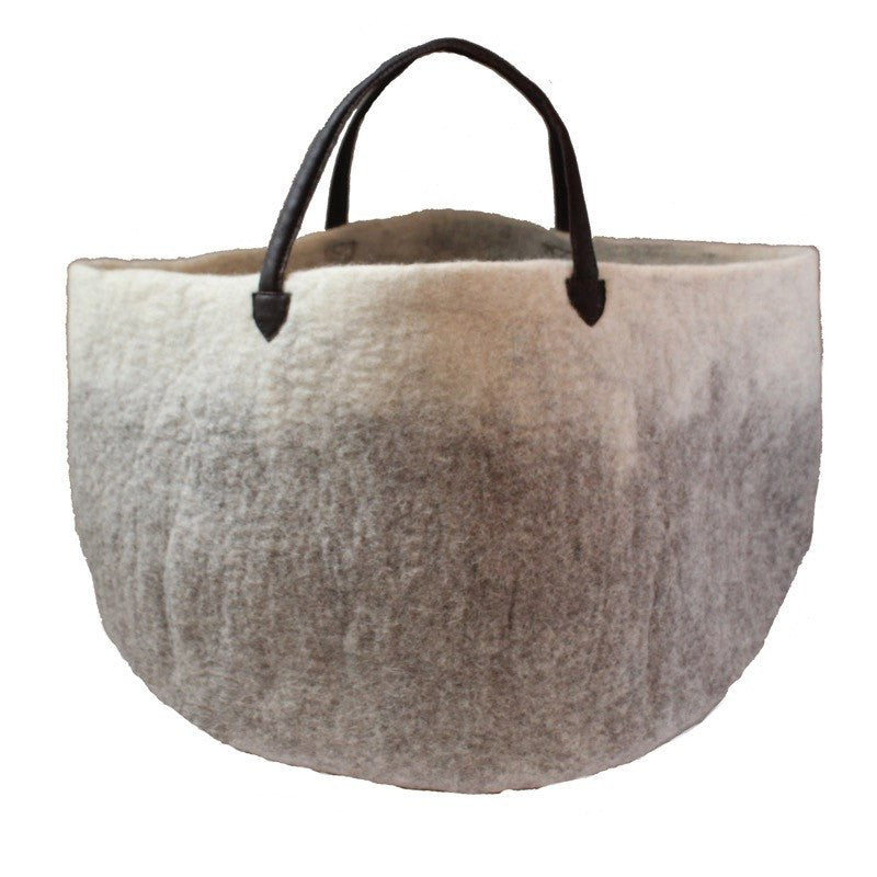 Muskhane basket with leather handles (light stone/natural)-felt basket-muskhane-mondocherry
