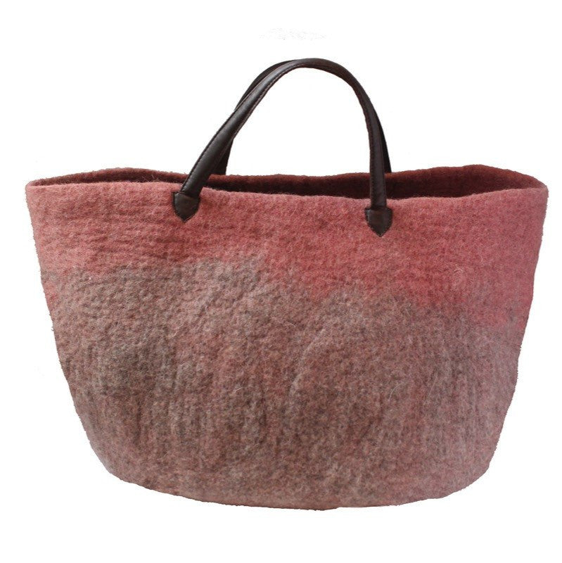 Muskhane basket with leather handles (dark stone/rose)-felt basket-muskhane-mondocherry