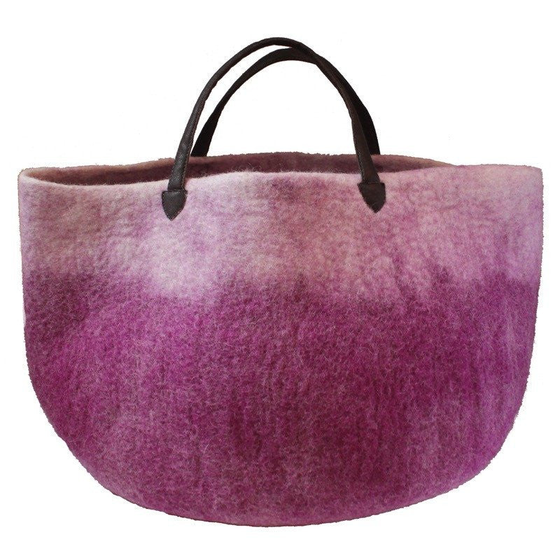 Muskhane basket with leather handles (violene/natural)-felt basket-muskhane-mondocherry
