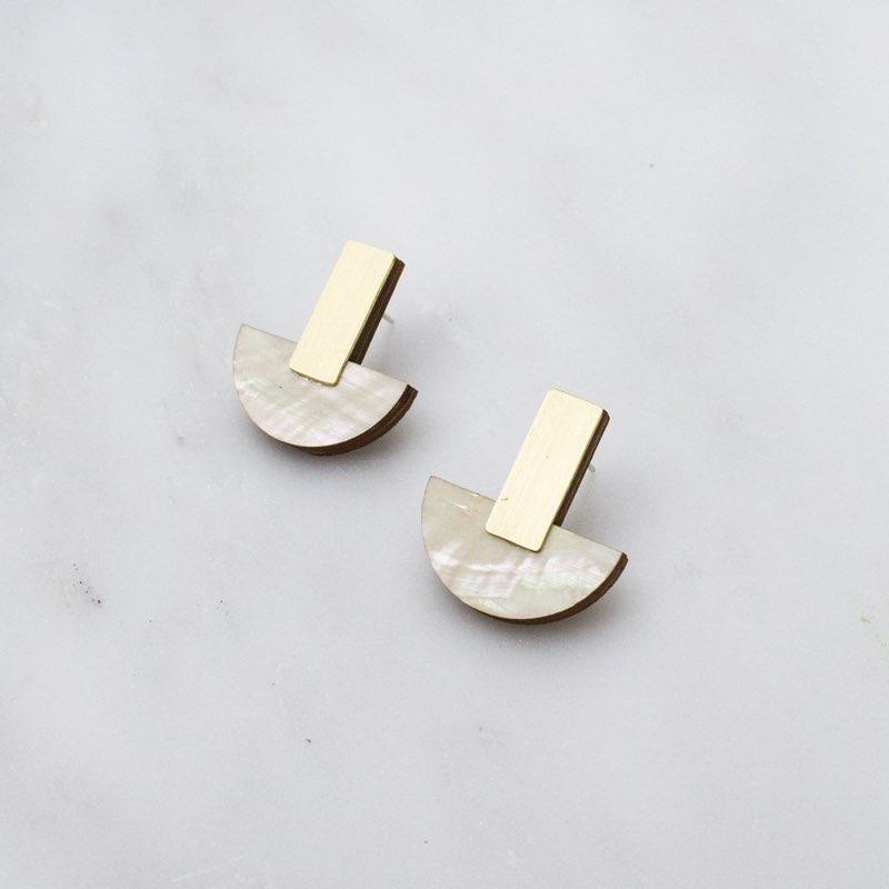 Jewellery - Wolf and Moon | crescent studs | mother of pearl - mondocherry
