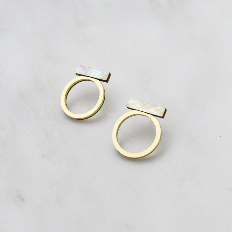 Jewellery - Wolf and Moon | loop studs | mother of pearl - mondocherry