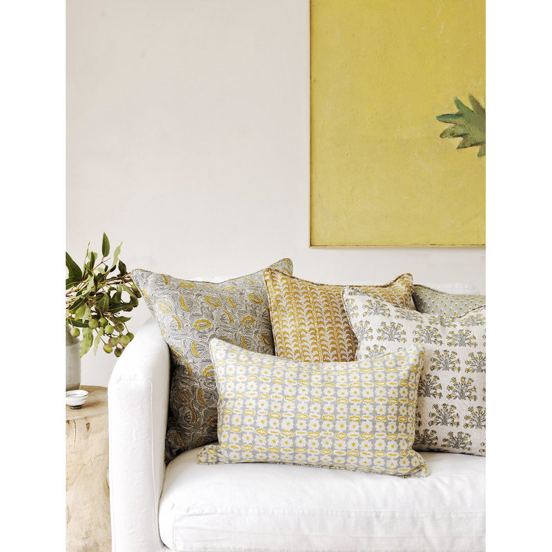 Walter G | marbella linen cushion | celedon on sofa