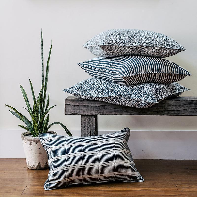Walter G | ticking linen cushion | indian teal - on bench
