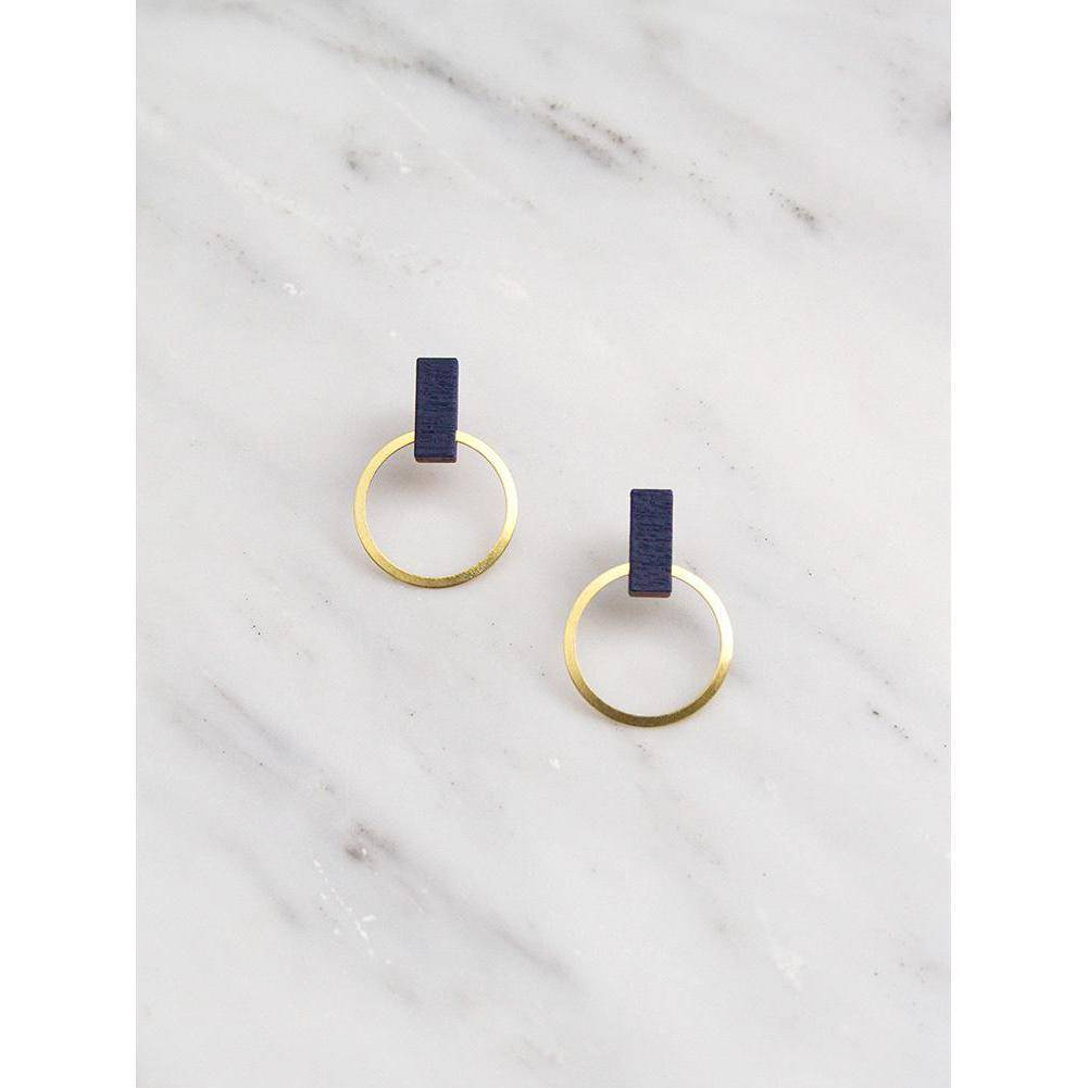 Wolf and Moon | elara stud earrings | midnight blue