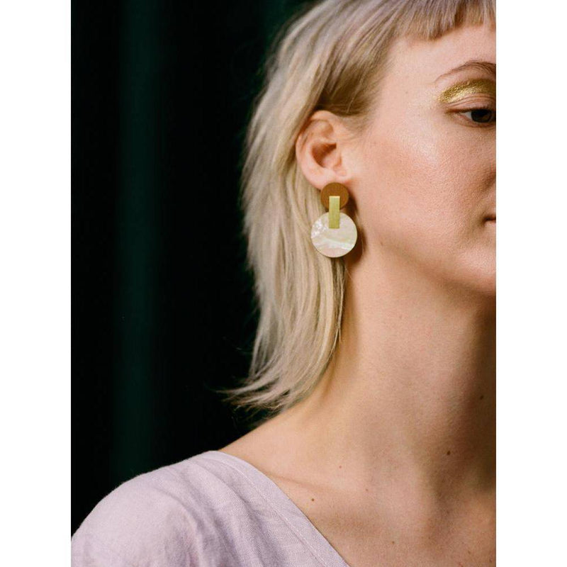 Wolf and Moon | celeste earrings | navy