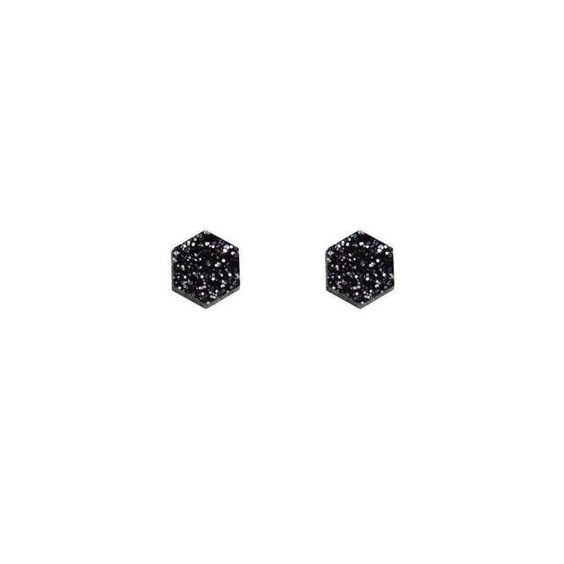 Wolf and Moon | hexagon stud earrings | black glitter