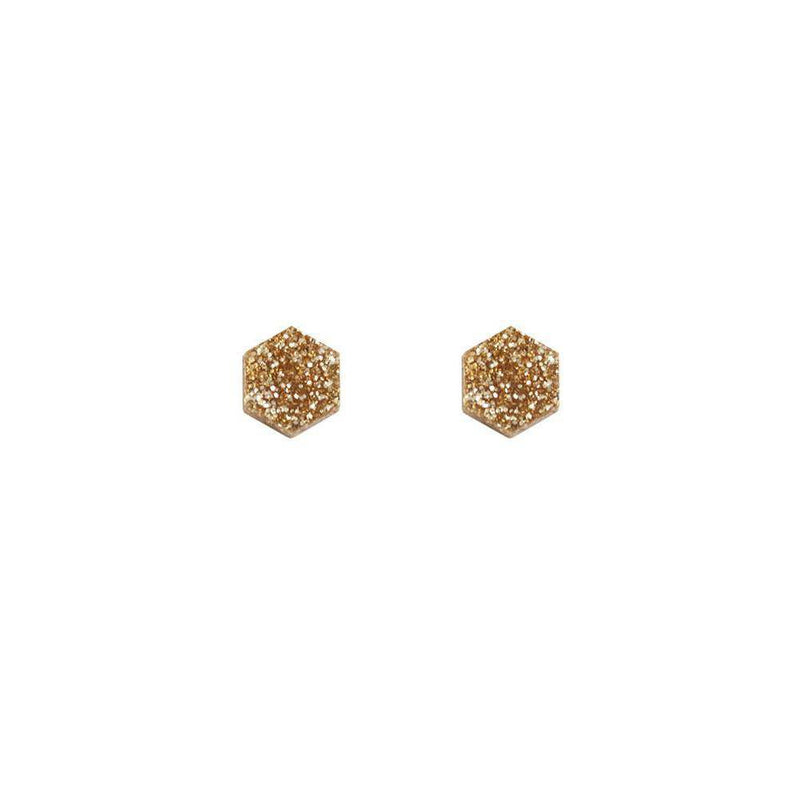 Wolf and Moon | hexagon stud earrings | gold glitter