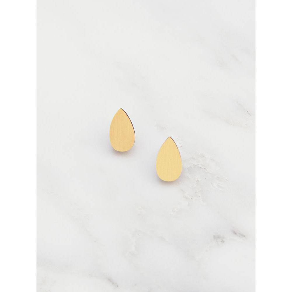 Wolf and Moon | raindrop stud earrings | brushed brass