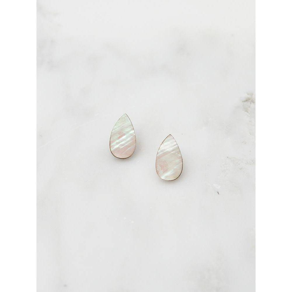 Wolf and Moon | raindrop stud earrings | mother of pearl