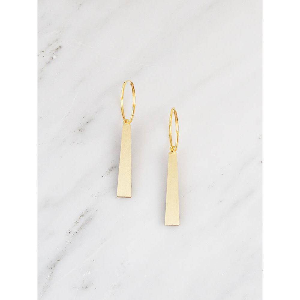 Wolf and Moon | tassel hoops earrings | brushed brass