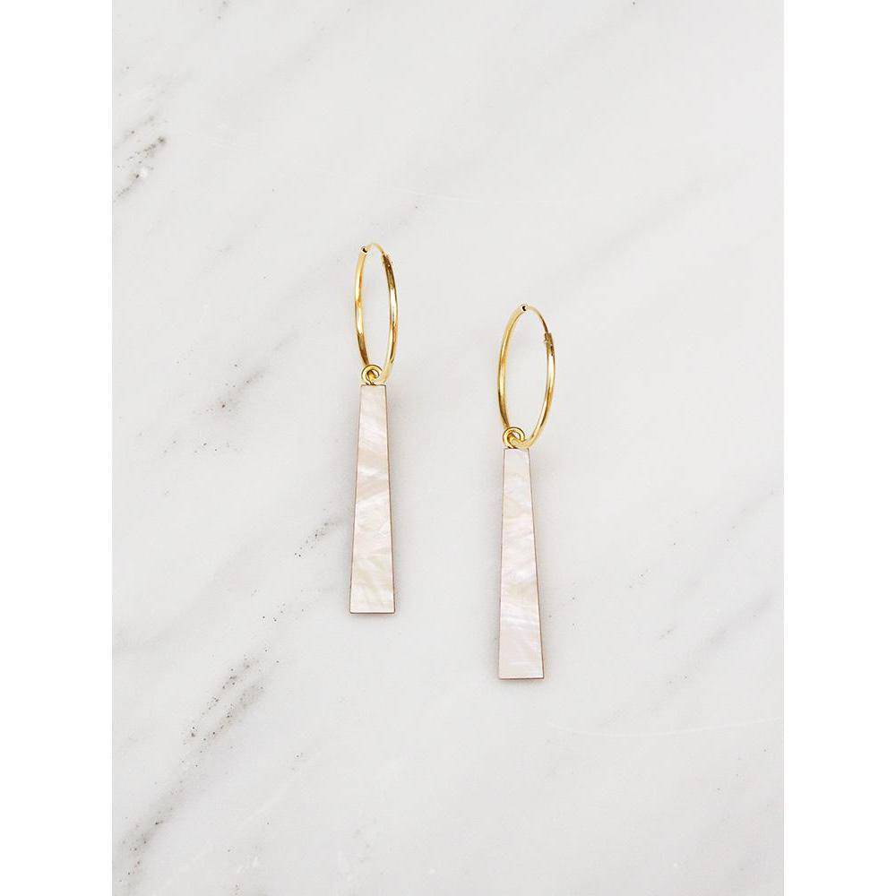 Wolf and Moon | tassel hoops earrings | mother of pearl