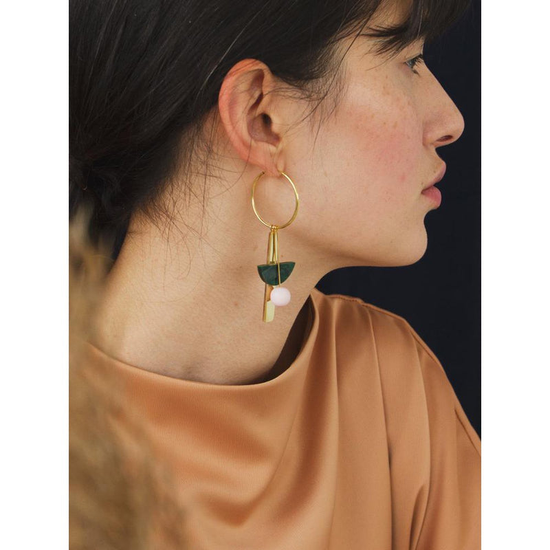 Wolf and Moon | abstract charm hoop earrings | green - side