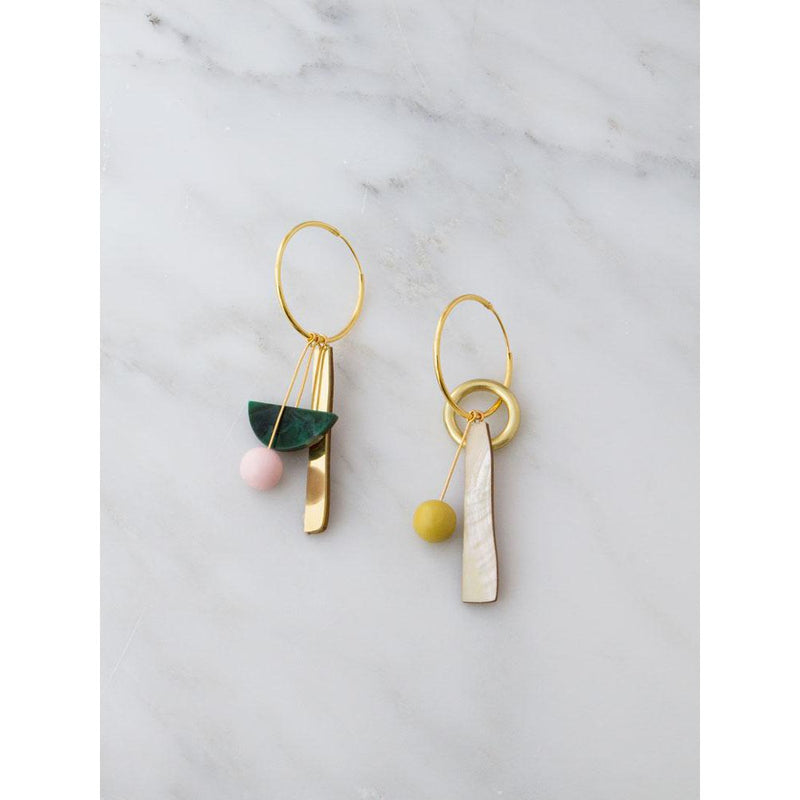 Wolf and Moon | abstract charm hoop earrings | green