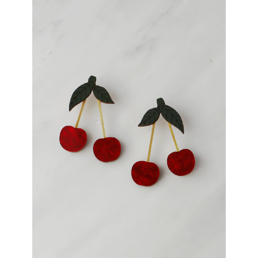 Wolf and Moon | cherry stud earrings | red