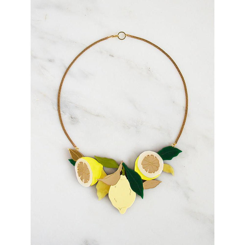 Wolf and Moon | statement necklace - lemon grove