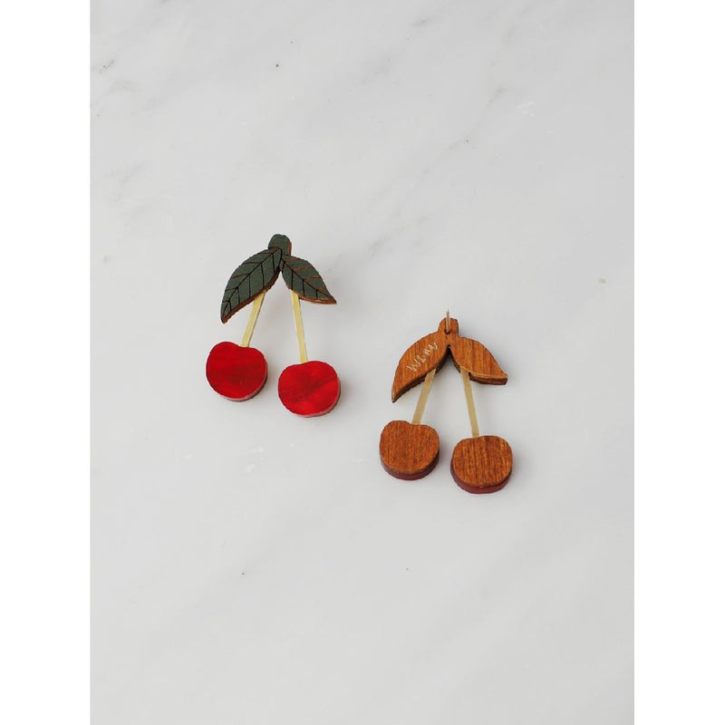 Wolf and Moon | mini cherry stud earrings | red - back