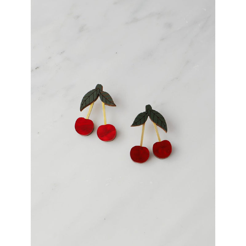 Wolf and Moon | mini cherry stud earrings | red