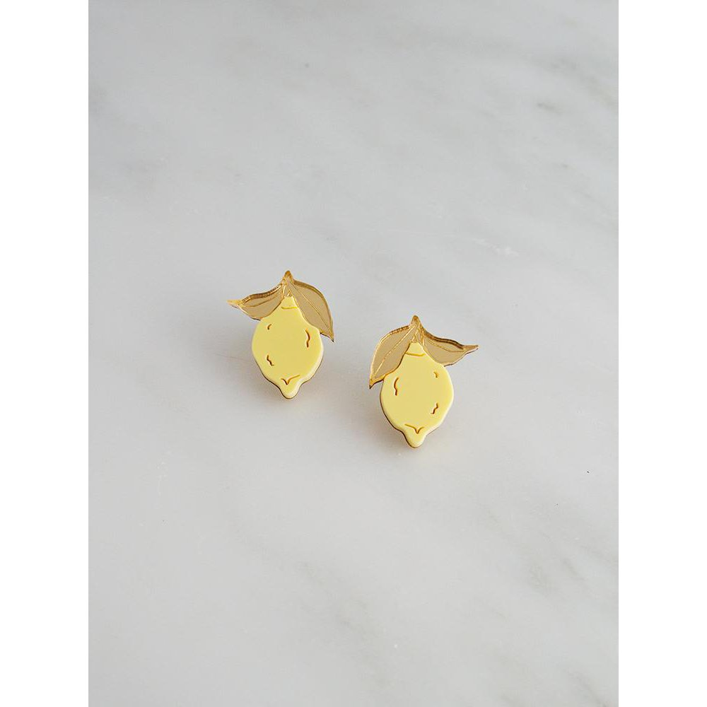 Wolf and Moon | mini lemon stud earrings