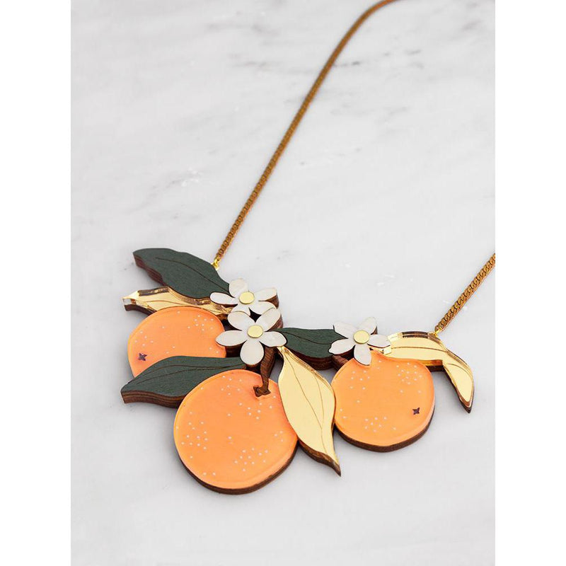 Wolf and Moon | statement necklace - orange orchard - side