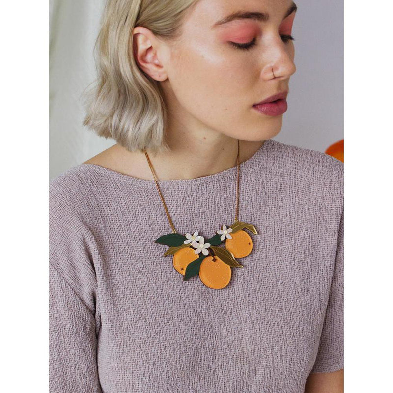 Wolf and Moon | statement necklace - orange orchard - wear