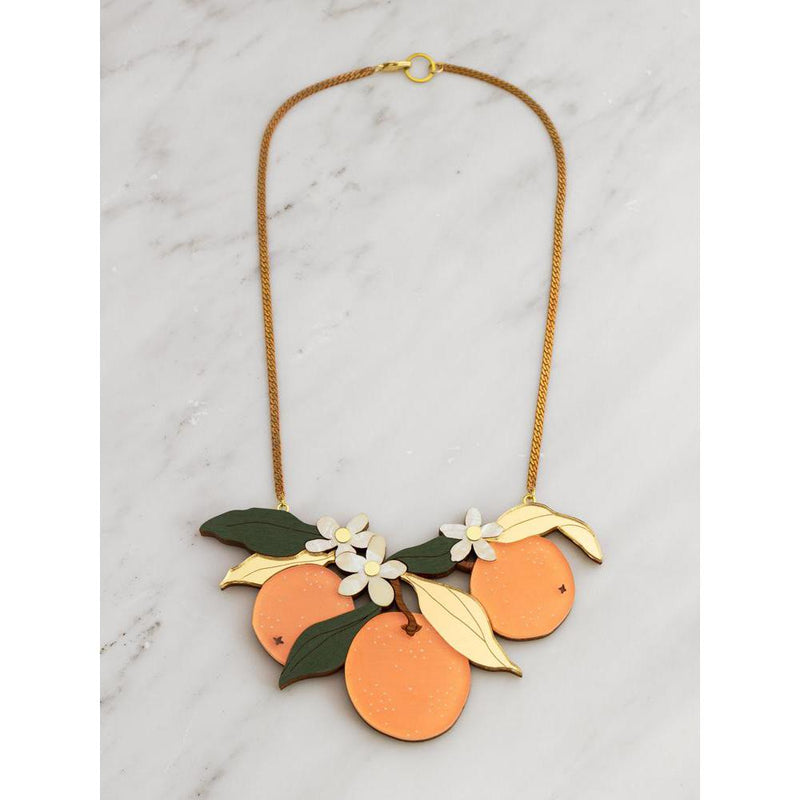Wolf and Moon | statement necklace - orange orchard