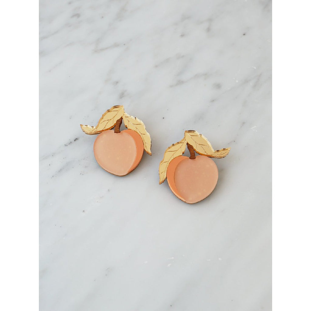 Wolf and Moon | peach earrings