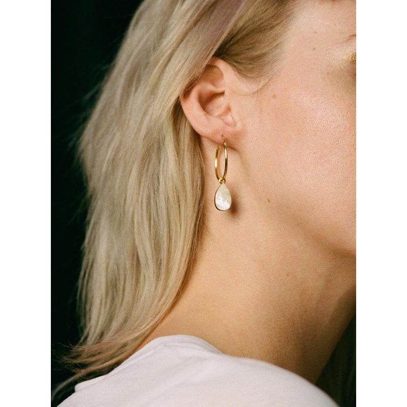 Wolf and Moon | raindrop hoop earrings | mother of pearl - model
