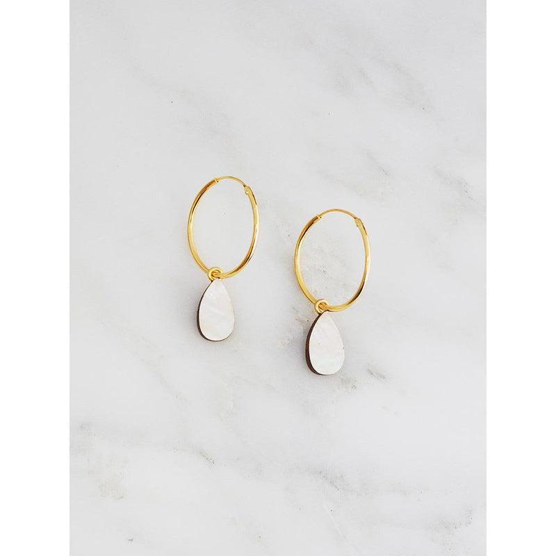 Wolf and Moon | raindrop hoop earrings | mother of pearl