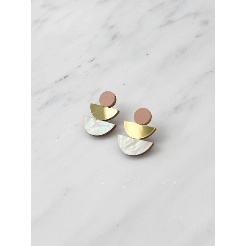 Wolf and Moon | selene stud earrings| blush - side