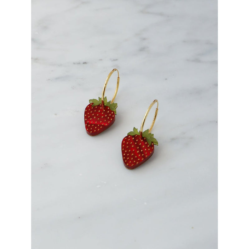 Wolf and Moon | strawberry hoop earrings - side