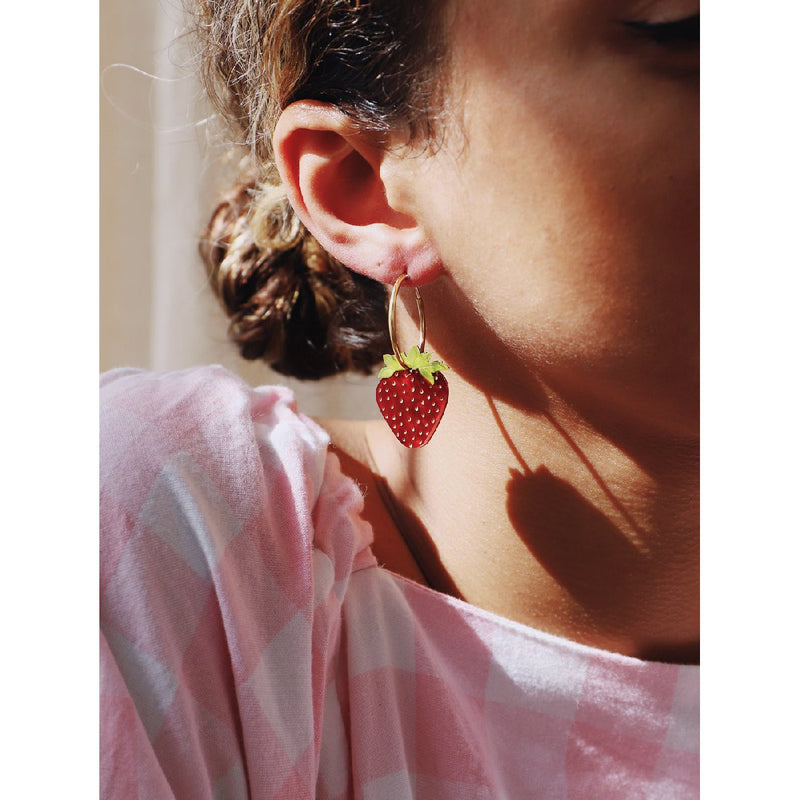 Wolf and Moon | strawberry hoop earrings - wear close