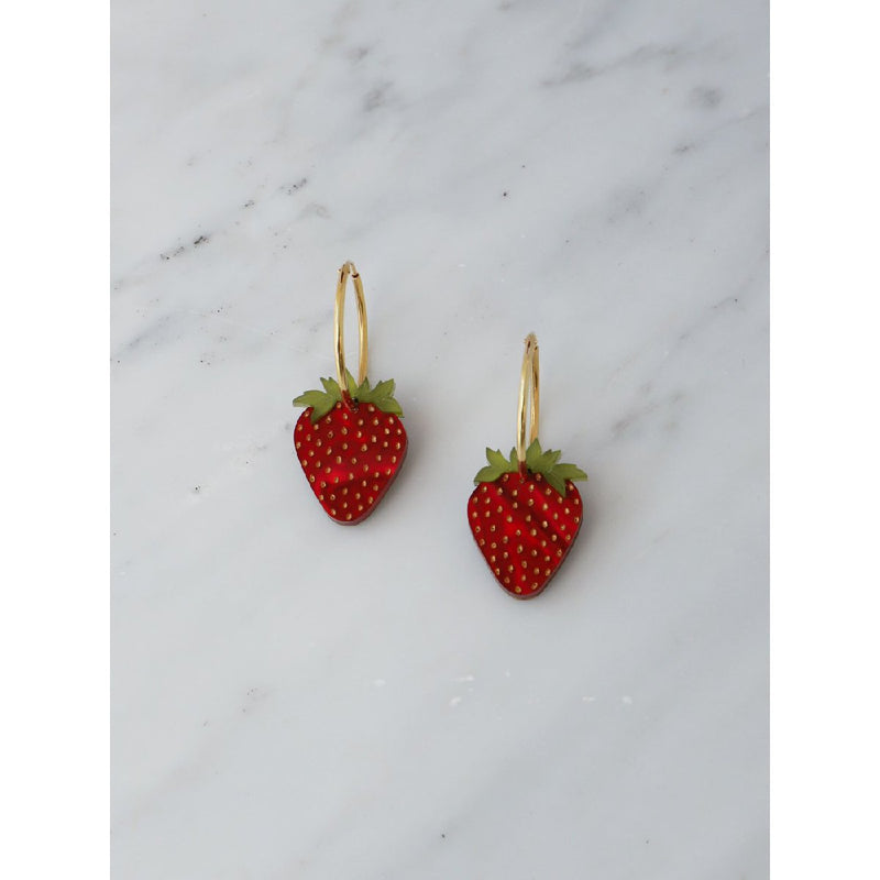 Wolf and Moon | strawberry hoop earrings