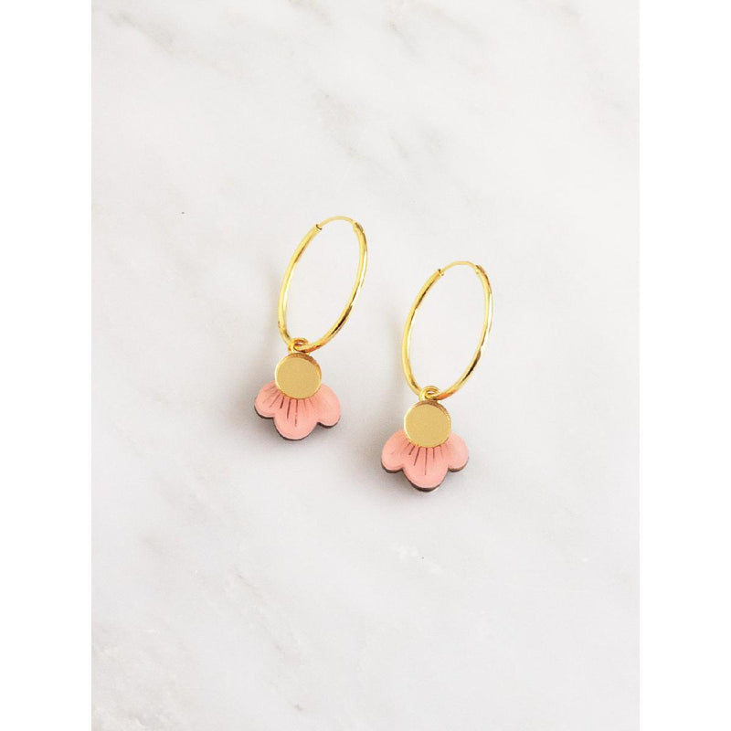 Wolf and Moon - wildflower hoop earrings | pink blush