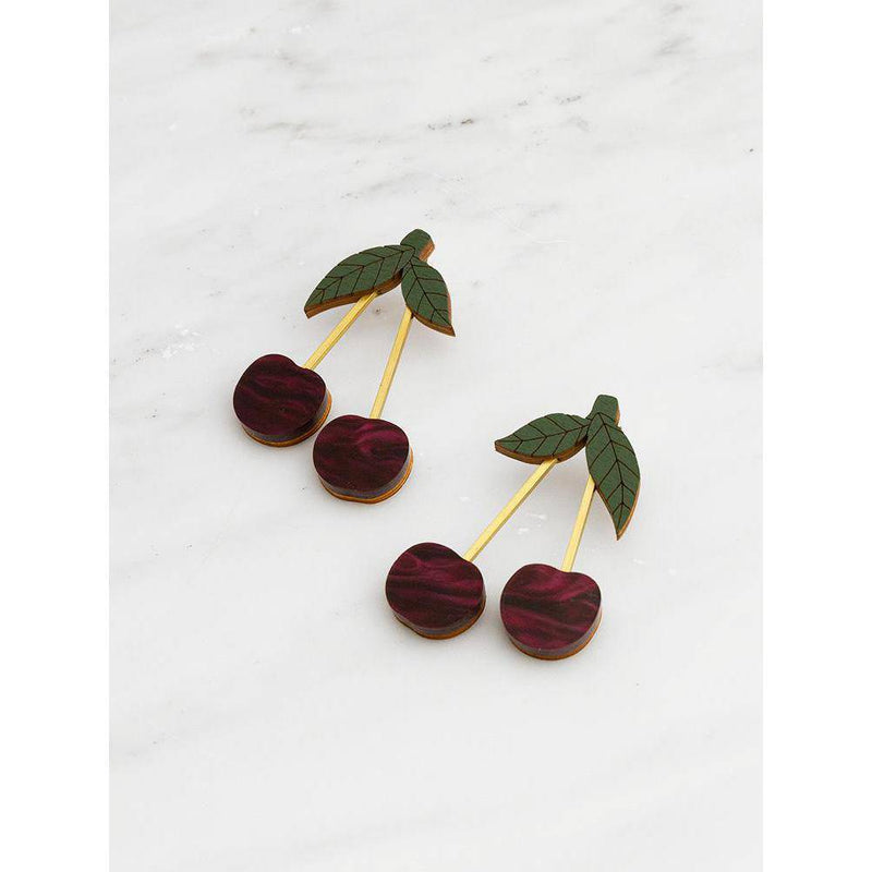 Wolf and Moon | cherry earrings - side view