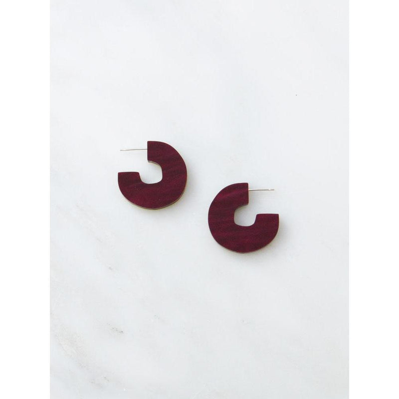 Wolf and Moon | cutout stud earrings | cherry