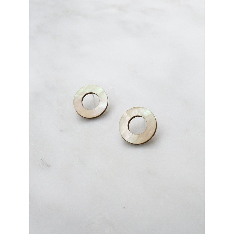 Wolf and Moon | disc stud earrings | mother of pearl