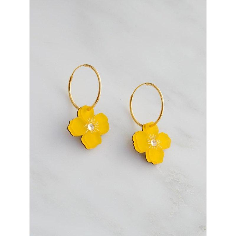 wolf and moon earrings - poppy hoop - saffron - close