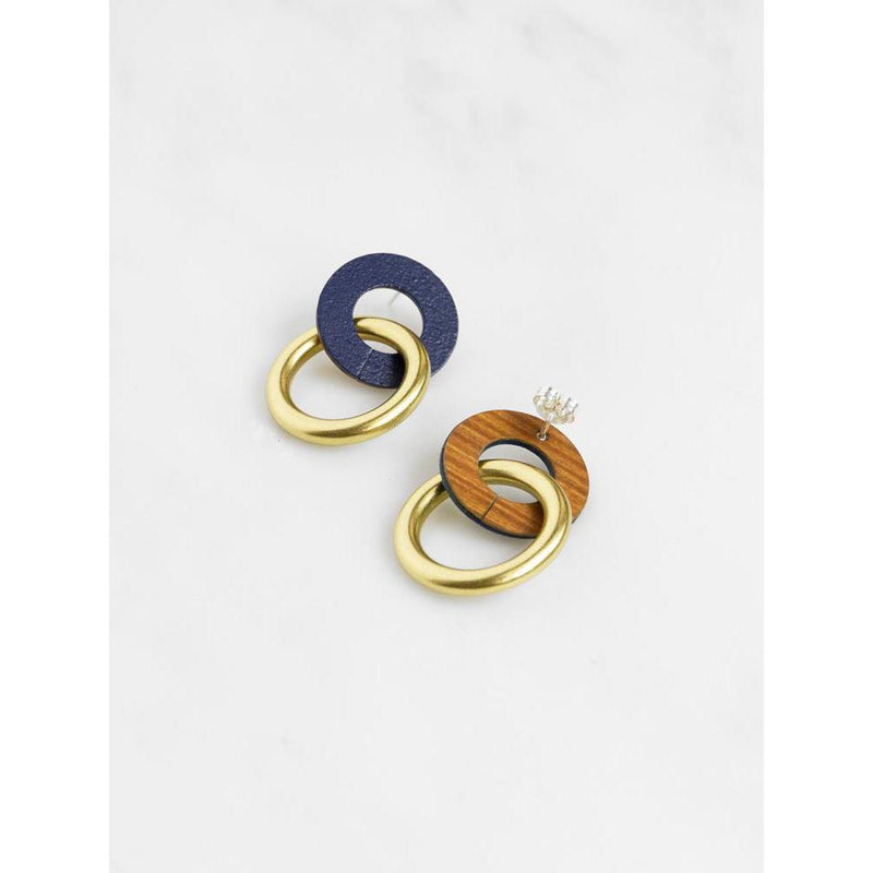 Wolf and Moon | isla earrings | blue - front back
