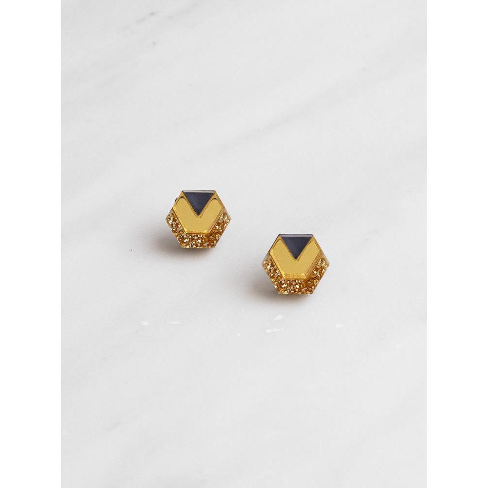 Wolf and Moon | little hex stud earrings| navy gold glitter