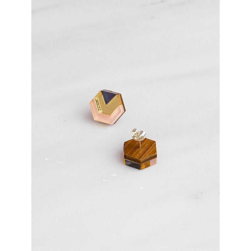 Wolf and Moon | little hex stud earrings| peach gold navy - back
