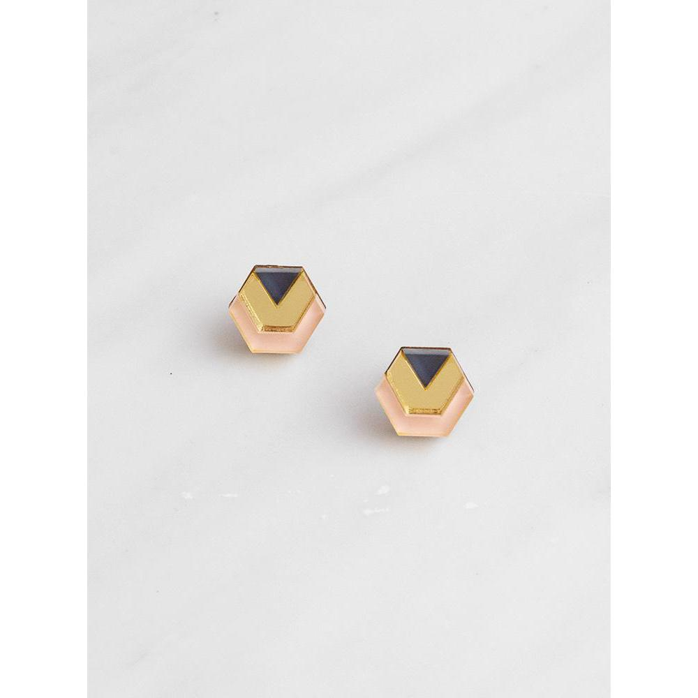 Wolf and Moon | little hex stud earrings| peach gold navy