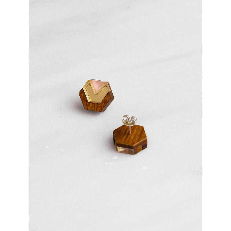 Wolf and Moon | little hex stud earrings| wood gold peach - back