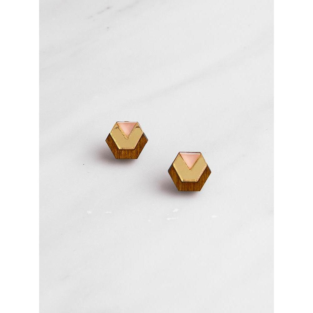 Wolf and Moon | little hex stud earrings| wood gold peach