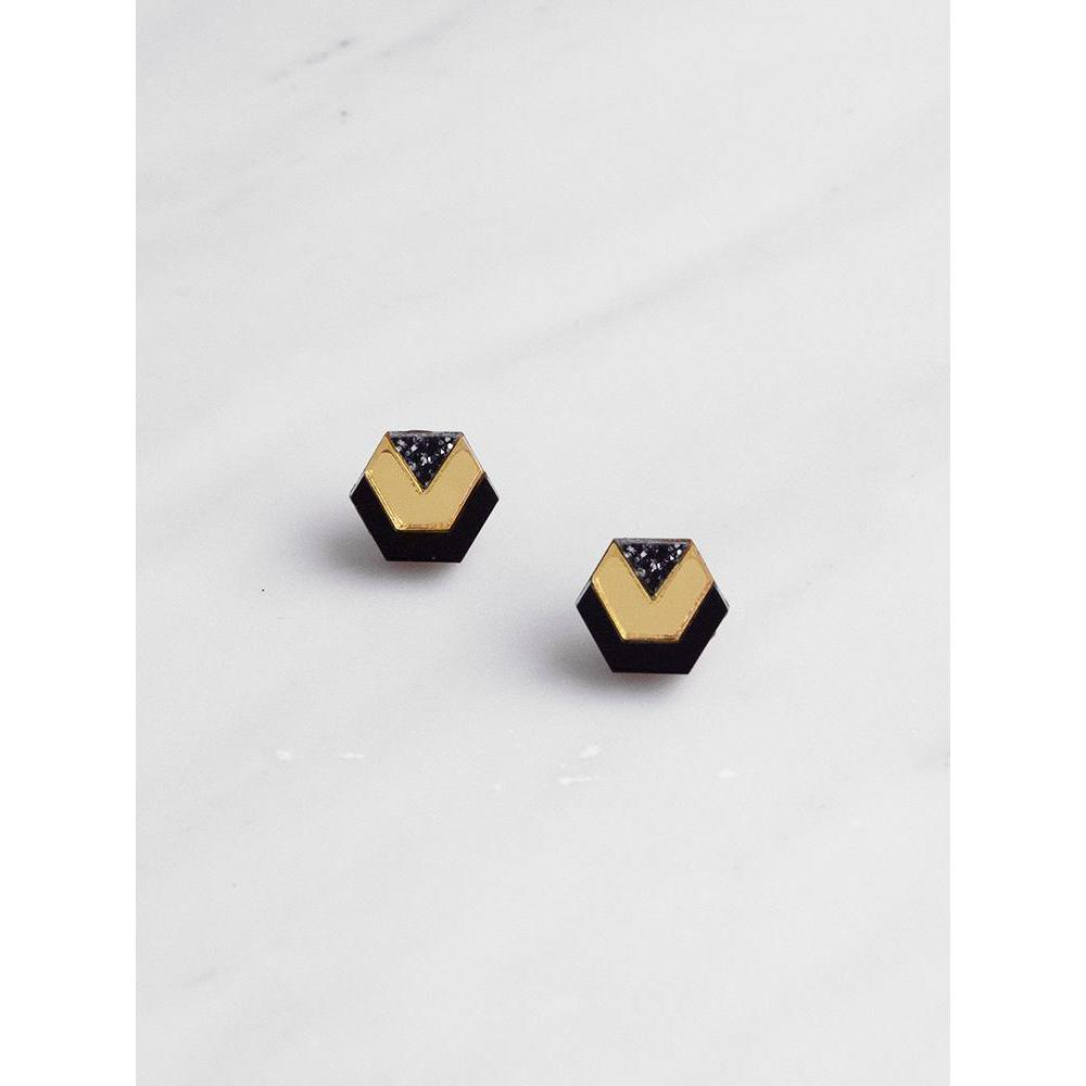 Wolf and Moon | little hex stud earrings| gold black glitter