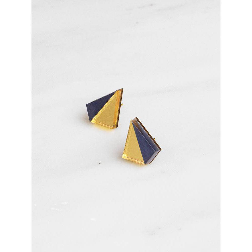 Wolf and Moon | pyramid stud earrings | gold navy