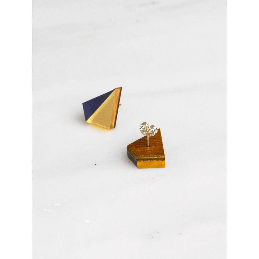 Wolf and Moon | pyramid stud earrings | gold navy - front and back